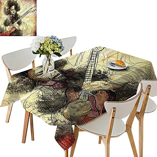 (UHOO2018 100% Polyester Tablecloth Guitar Virtuoso Hand Drawn Guitar Player Musician Brown Beige Black Square/Rectangle Multicolor,54 x120inch.)