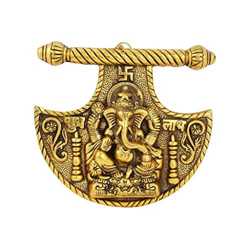 Handicrafts Paradise Wall Hanging Ganesha Fan Shaped Design shubh labh Engraved in Metal