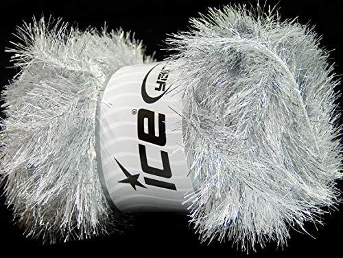 (Lot of 4 x 100gr Skeins Ice Yarns EYELASH DAZZLE Hand Knitting Yarn Silver )