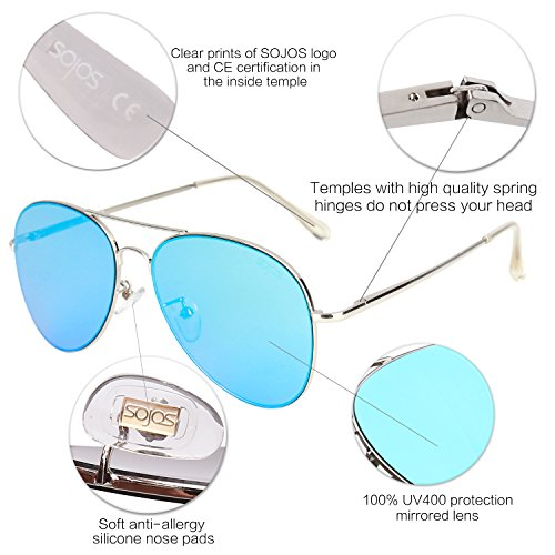 b5bf03b778 SOJOS Classic Aviator Mirrored Flat Lens Sunglasses Metal Frame with Spring  Hinges SJ1030 with Silver Frame