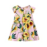 OSYARD Girl's Dress, Kids Child Baby Girls Sunflower Floral Fly Sleeve Sundress Dress Casual Clothes