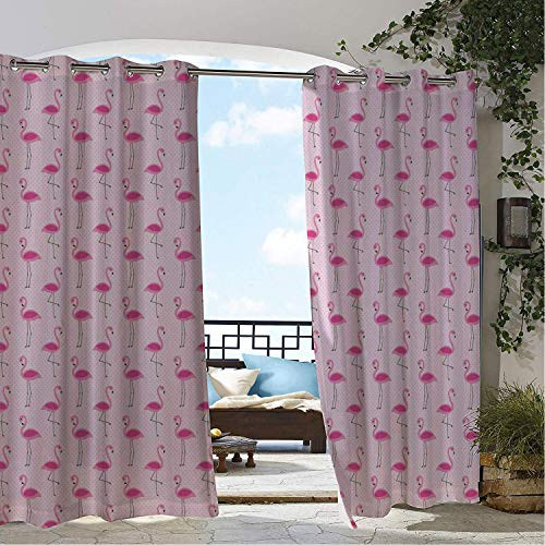 Waterproof Curtains Flamingo Tropical Island Animals Pink Flamingo Figures on Polka Dot Backdrop Pink Pale Pink and Brown doorways Grommet Printed Curtain 84 by 96 inch ()