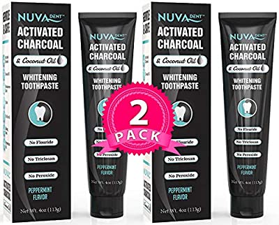 BEST DEAL Activated Charcoal Toothpaste w/Coconut Oil for Teeth Whitening 2 pack - Natural, Fluoride Free, Sulfate Free Cool Mint for Kids and Adults …