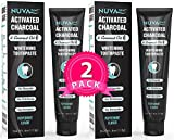 Nuva Dent Activated Charcoal Toothpaste w/Coconut Oil for Teeth Whitening - Safe, Natural, Cleaning Paste for Kids and Adults - Fluoride Free & Sulfate Free - Cool Mint, 2 Pack