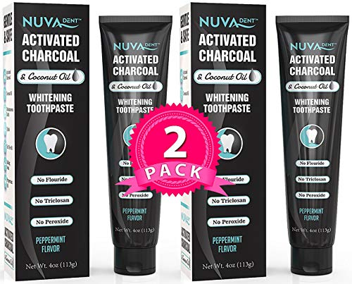 BEST DEAL Activated Charcoal Toothpaste w/Coconut Oil for Teeth Whitening 2 pack – Natural, Fluoride Free, Sulfate Free Cool Mint for Kids and Adults …