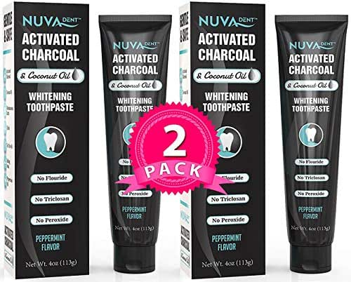 Nuva Dent Activated Charcoal Toothpaste w/Coconut Oil for Teeth Whitening – Safe, Natural, Cleaning Paste for Kids and Adults - Fluoride Free & Sulfate Free – Cool Mint, 2 Pack