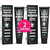 Activated Charcoal Toothpaste w/Coconut Oil for Teeth Whitening (2 Pack)- Natural, Fluoride Free, Sulfate Free Cool Mint for Kids and Adults …