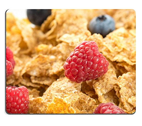 MSD Natural Rubber Gaming Mousepad IMAGE ID: 32235925 Cereal flakes with fresh raspberry closeup