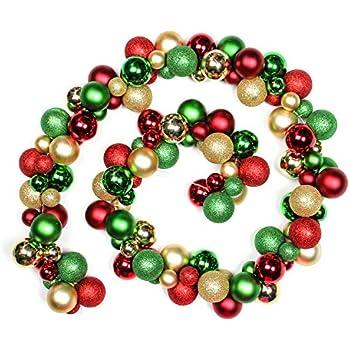 Jusdreen 6 Foot Christmas Balls Ornaments Fireplace Shatterproof Strip Balls Tree Hanging Christmas Decorations Rattan Balls - Red&Gold&Green