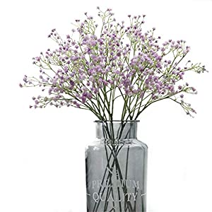 Crt Gucy Artificial Flowers 9Pcs 21″ Baby Breath/Gypsophila Fake Silk Plants Wedding Party Decoration Real Touch Flowers DIY Home Garden, Purple