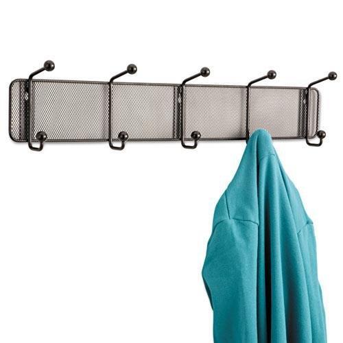 Safco Wall Coat Rack - SAF6403BL - Safco Onyx 5-Hook Steel Mesh Wall Rack