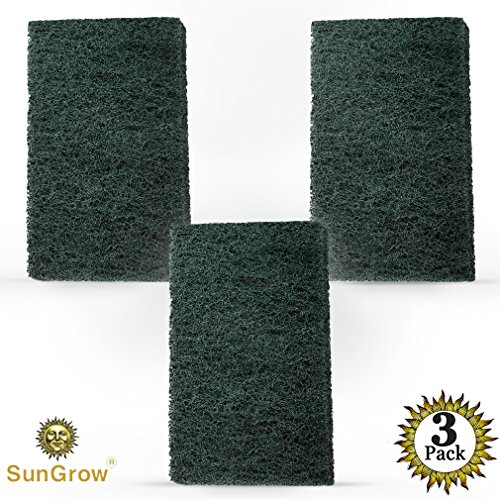 SunGrow 3 Algae Scrub Pads by Remove Stubborn Algae from nooks and crannies easily - Saves time - Creates A Sparkling clear aquarium - Long-lasting Pads by SunGrow
