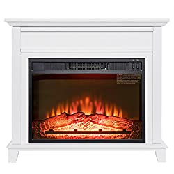 "Golden Vantage 32"" Freestanding White Wood Finish Electric Fireplace Stove Heater by Golden Vantage"