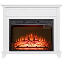 """Golden Vantage 32"""" Freestanding White Wood Finish Electric Fireplace Stove Heater"""