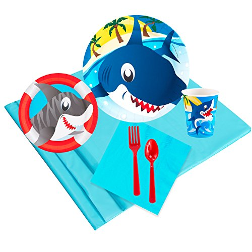 Sharks Childrens Birthday Party Supplies - Tableware Party Pack (16) -