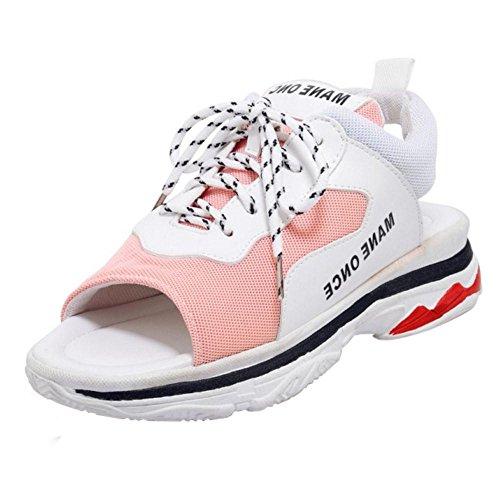 Bout Femmes Chaussures TAOFFEN Ouvert Pink 2 de Sport Lacets Sandales w5xdSTd7q