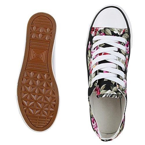 Japado Elegante Damen Sneakers Low Glitzer Canvas Schuhe Turnschuhe Freizeit Gr. 36-41 Schwarz Blumen