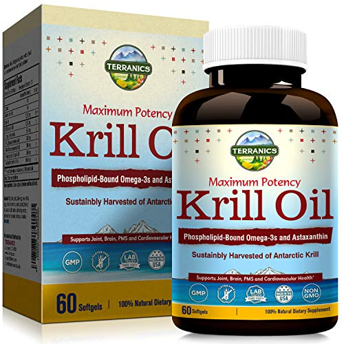 Terranics Krill Oil with Omega3s DHA & EPA, Phospholipids and Astaxanthin, 1250mg, 60 Softgels, Supports Joint, Brain and Cardiovascular Health, NON-GMO, Soy, Dairy & Gluten Free, for men and women