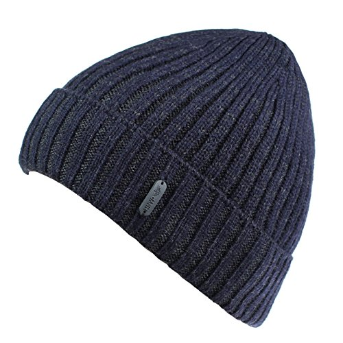 Connectyle Outdoor Classic Bassic Men  's Warm Winter Hats Thick Knit Long Cuff Beanie Cap with Lining, 55 60cm, Navy Blue