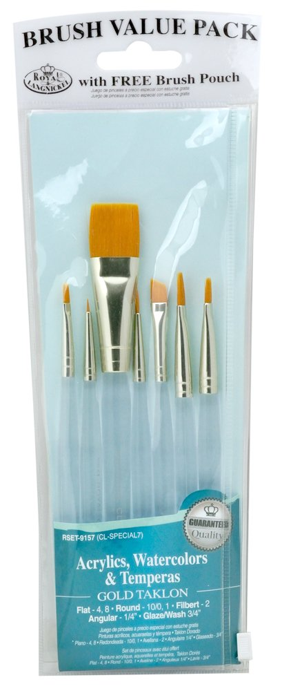 ویکالا · خرید  اصل اورجینال · خرید از آمازون · Royal & Langnickel Royal Zip N' Close Gold Taklon Clear Acrylic Handle Variety 7-Piece Brush Set wekala · ویکالا