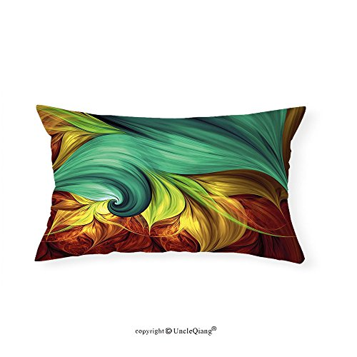 VROSELV Custom pillowcasesFractal Computer Art Stylized Fluid Color Tones with Artistic Abstract Dynamic Forms for Bedroom Living Room Dorm Teal Yellow Ruby(12''x24'') by VROSELV