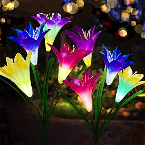 AB AttaBoy Outdoor Solar Garden Stake Lights-2019 Upgraded Solar Powered Lights, 4 Color Lily Flower with Color Changing LED for Garden Decorate, Bigger Flower and Wider Solar Panel (2 Pack)