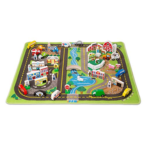 (Melissa & Doug Deluxe Activity Road Rug Play Set with 49 Wooden Vehicles and Play)