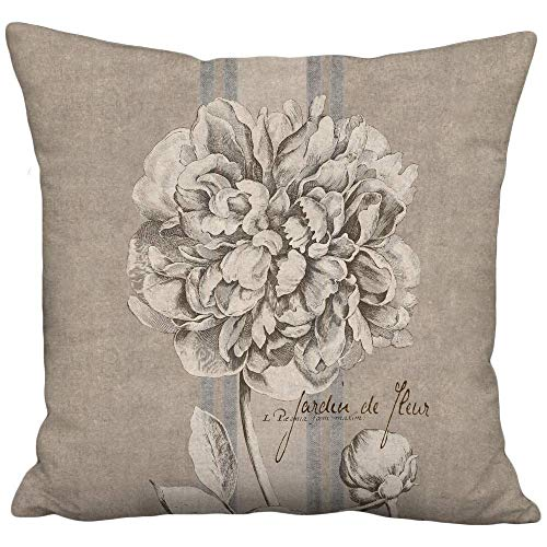 (Rustic Peony French Country Grain Sack Style Linen Cotton Pillow Cover - Sizes for Inserts 16
