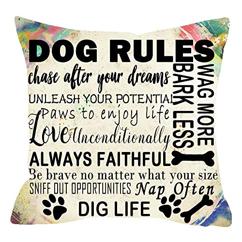 ITFRO Nice Animal Pet Dog Lover Gift Newspaper Texture Funny Dog Rules Cotton Linen Throw Pillow Case Cushion Cover Square 18x18 inches (Decorative Pillows Dogs)
