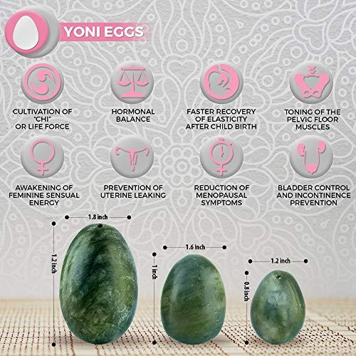 Hellu Jade Yoni Eggs Predrilled Yoni Eggs Set Of 3 Yoni