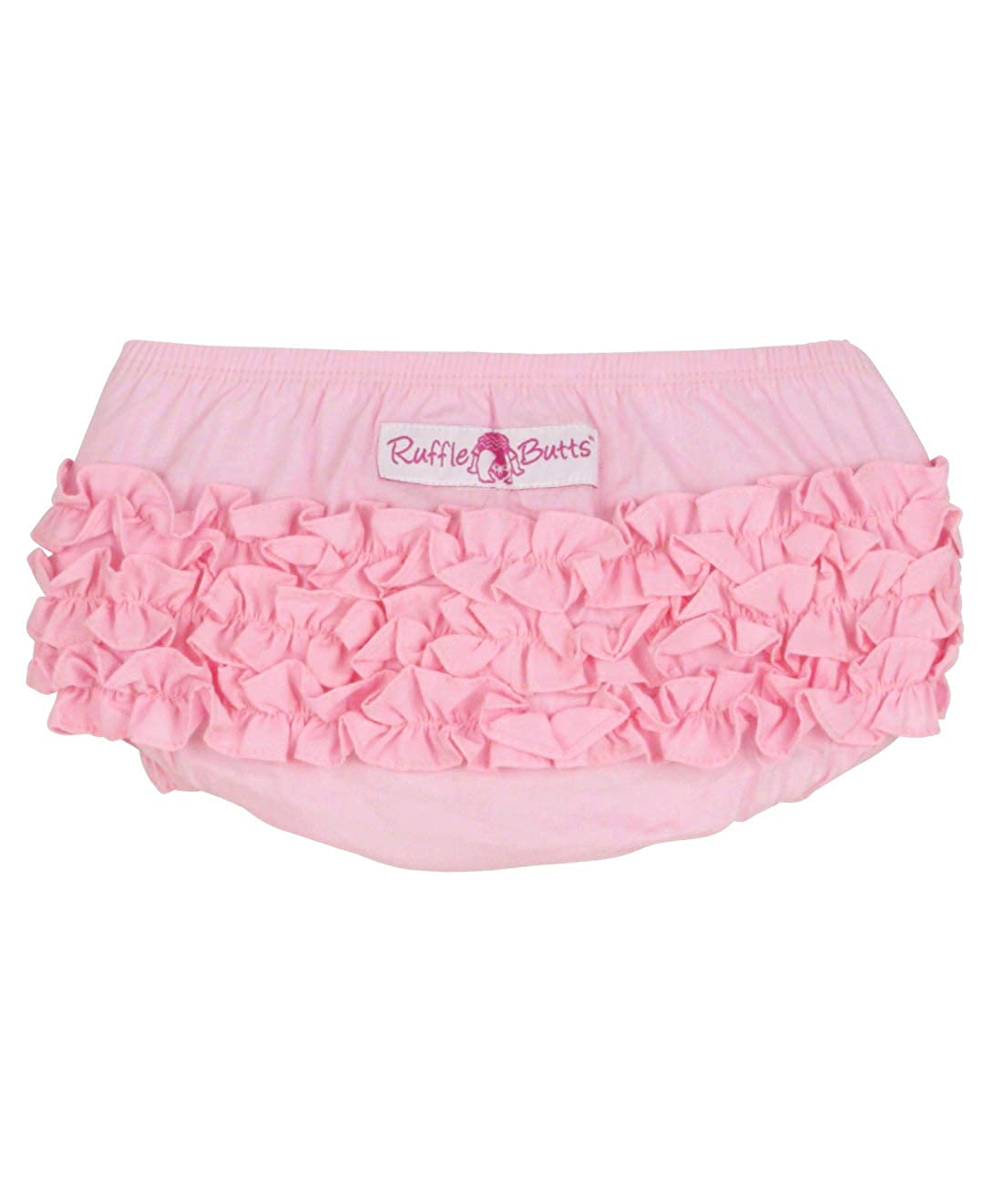 RuffleButts Baby//Toddler Girls Toddler Pink Cotton Ruffled Diaper Cover 12-18m