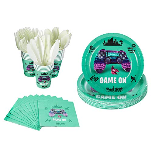120 Pcs Video Game Party Supplies  Serves 20  Includes Plates, Knives, Spoons, Forks, Cups and Napkins for GAME ON Birthday Party Pack for Kids Video Game Themed Parties.