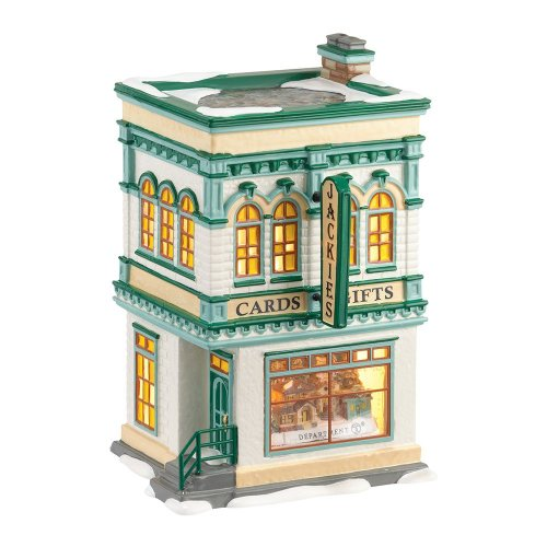 Department 56 Originial Snow Village Jackie's Cards and Gifts Lit House, 7.8-Inch