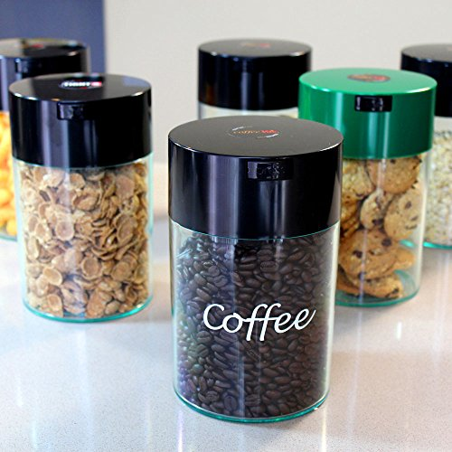 Coffeevac 1 lb - The Ultimate Vacuum Sealed Coffee Container, Black Cap & Body by Tightpac America, Inc. (Image #3)