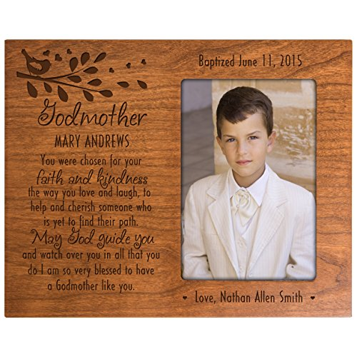 Personalized Baptism Photo Frame Custom Godmother gift from Godchild You were chosen for your faith and kindness Cherry picture frame holds 4x6 photo by LifeSong Milestones