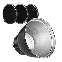 "Andoer 7"" Standard Reflector Diffuser Lamp Shade Dish with 10° 30° 50° Honeycomb Grid for Bowens Mount Studio Strobe Flash Light Speedlite"