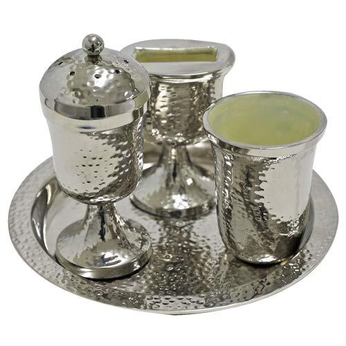 Aluminum Havdalah Set With Hammered Design