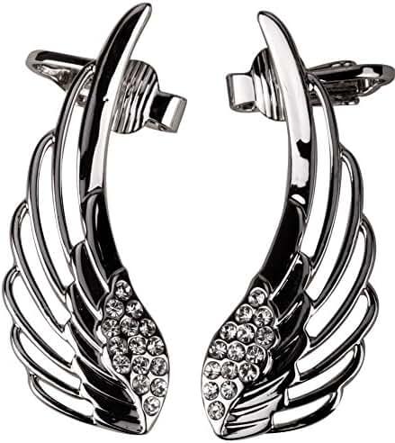 Szxc Jewelry Women's Crystal Angel Wings Ear Wrap Cuff Earrings for Pierced Ears Biker Jewelry