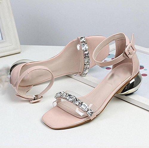 Zapatos De Ms Hebilla Palabra Tacones Los Sandalias Crudo Del Altos Pink Rhinestone Con nxp1wRw0q