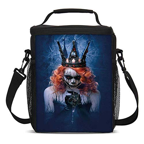 Queen Fashionable Lunch Bag,Queen of Death Scary Body Art Halloween Evil Face Bizarre Make Up Zombie for Travel Picnic,One -