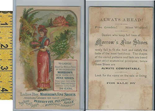 (Victorian Card, 1890's, Morrows Shoes, New York, Lady Red Dress Basket)