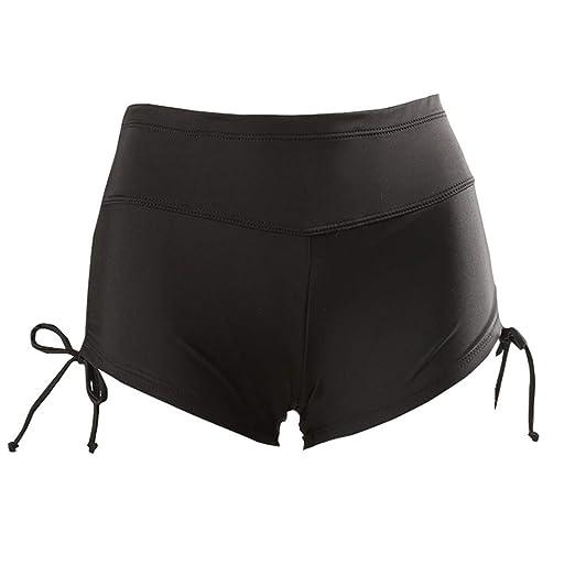 7be7c1b07a5 lisenraIn Women's High Waist Swim Shorts Plus Size Side Tie Lined Tankini  Bottom Stretch Swimsuit Boyshorts