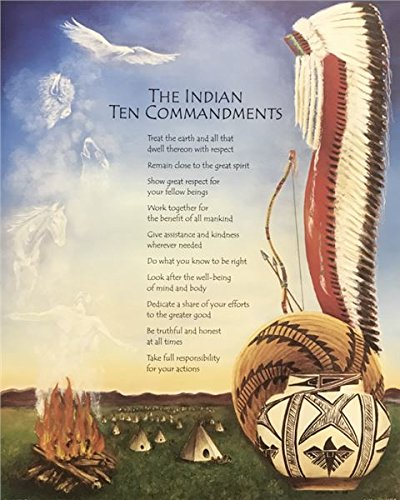 Unframed Print The Indian Ten Commandments, (Native American Indian Lady / 21-8X10-J) 8x10 Inch Unknown, Art Print & Poster (Ten Native American Commandments)