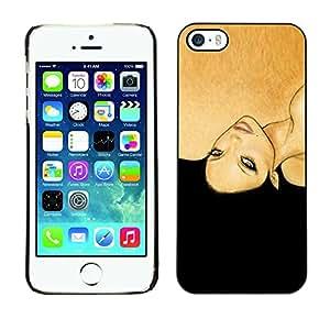 Caucho caso de Shell duro de la cubierta de accesorios de protección BY RAYDREAMMM - Apple iPhone 5 / 5S - Black Woman Fashion Hair