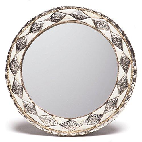 11 Inch Round Moroccan White Bone - Mirror Moroccan Round