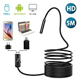 USB Endoscope, Papake 2 in 1 Borescope Inspection Camera 2.0MP CMOS HD Waterproof Snake Camera with 6 Adjustable Led for Android, Smartphone, Samsung, Windows, Tablet-16.4 ft (5M)