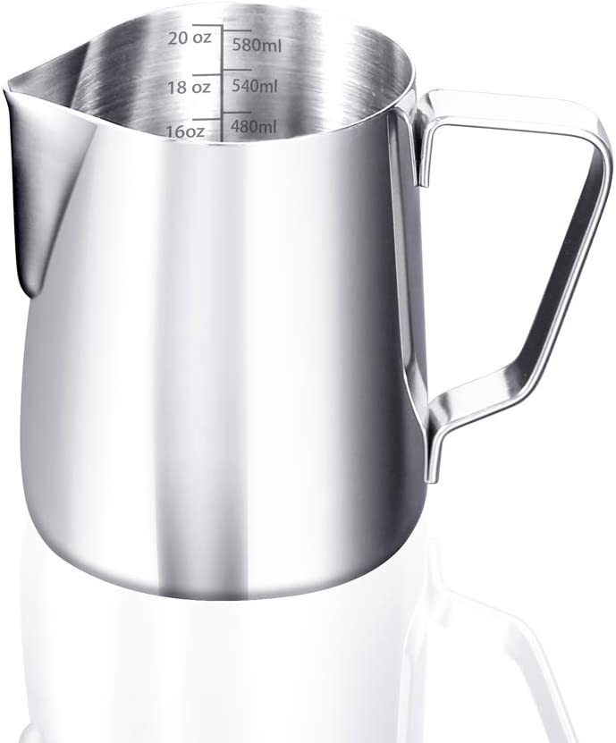 ETiME Milk Frothing Pitcher Espresso Steaming Pitcher 20 oz Stainless Steel Coffee Frothing Cup 600ml Coffee/Milk/Cappuccino Latte Art Barista Steaming Pitcher With Measurement Scales, Dripless Spout