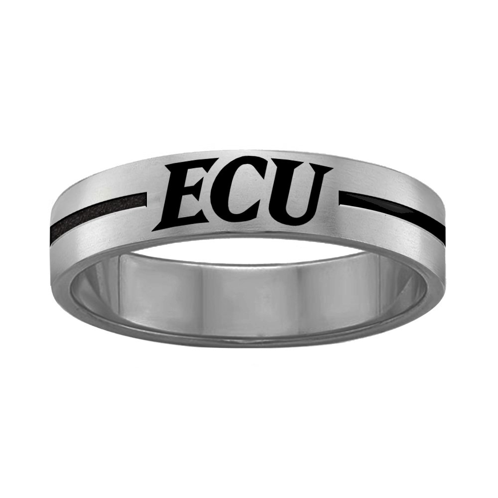 QUAD LOGO East Carolina Pirates Rings Stainless Steel 8MM Wide Ring Band