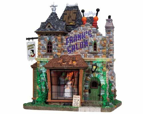 Lemax Spooky Town Frank's Salon with Adaptor # 85662 -