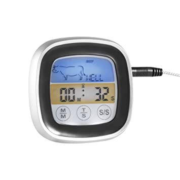 Dingcaiyi Termómetro Digital De Cocina con Sonda para Horno Barbacoa con Temporizador Y Temperatura Alarma Lectura